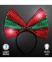 LED Red Green Bow Headband