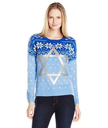Blue Womens Star of David Chanukah Ugly Sweater with Jingling Bells