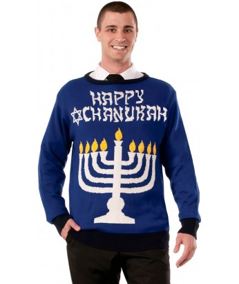 Blue Mens Happy Chanukah Menorah Sweater