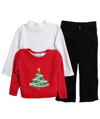 Girls' 3 Piece Christmas Holiday Sweater Corduroy Pants Set