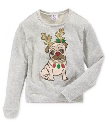 Girls Festive Pug Sweatshirt