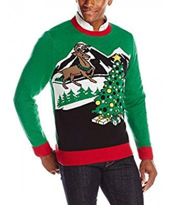 A Green Men's Reindeer and Tree Light Up Sweater