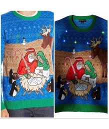 Nativity Scene Unisex Light Up Sweater