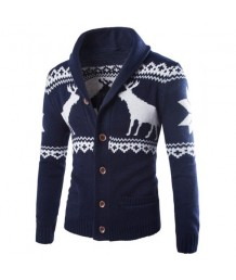 A Reindeer Cardigan in Navy Blue