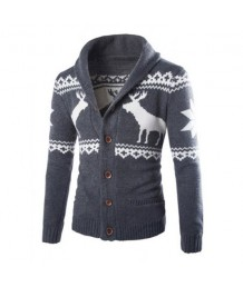 Reindeer Cardigan in Navy Gray