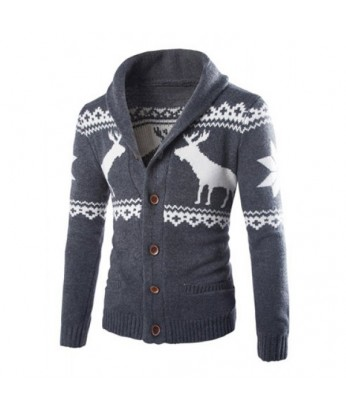 A Reindeer Cardigan in Navy Gray