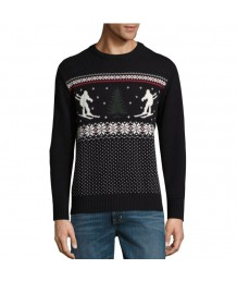 Black Ski Scene Sweater