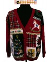 A Red Zip Up sweater with 6 falling snowmen