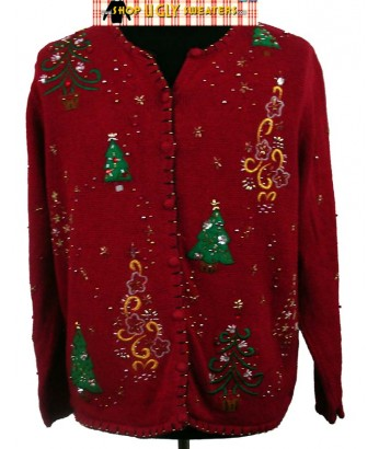 2XL Red Bedazzled Christmas Sweater