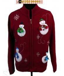 Red 4 Smiling Snowmen Christmas Sweater