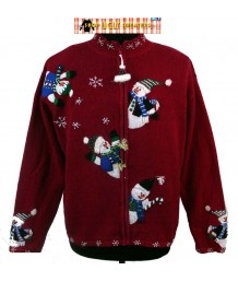 Red Tiara International Zip Up Christmas Sweater with snowmen on sleeves and back Size XL