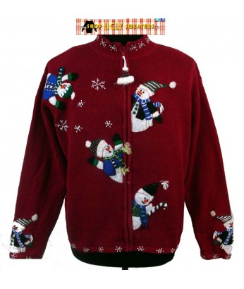 Red Zip Up Christmas Sweater with snowmen on sleeves and back Size L