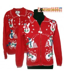 Red  Tiara International Snowmen Collared Zip Up Sweater