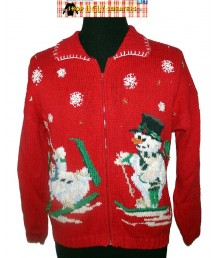 A Red Vintage Knit Skiing Snowmen Collared Zip Up Sweater
