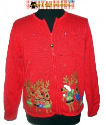 A Red Christmas Reindeer Sweater with Jingle Bell Zipper Size XL