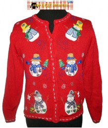 Red Sequined Snowmen and Beaded Blue Squiggles Button Up Sweater