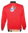 A Red Sequined Snowmen and Beaded Blue Squiggles Button Up Sweater m
