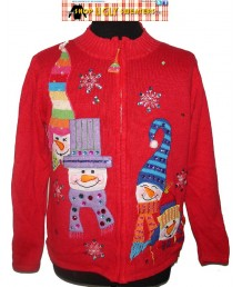 Red Beaded & Sequined Snowmen Zip Up  Sweater