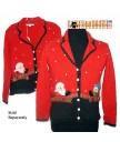 A Red Santa & Snowman In Pockets Button Up Christmas Sweater