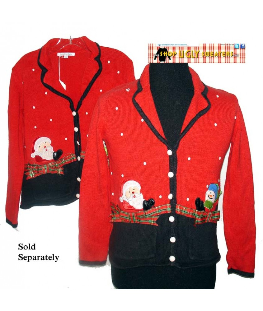 A Red Santa Snowman In Pockets Button Up Christmas Sweater