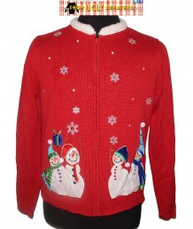 A Red Furry Collared Velvety Snowmen Zip Up Sweater