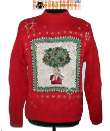 Red Vintage Knit Tiara International Christmas Tree Sweater Size LARGE