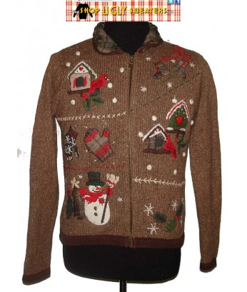 A Brown Plaid Collared Zip Up Christmas Sweater