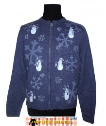 Blue Zip Up Snowflake Sweater Size PETITE XL