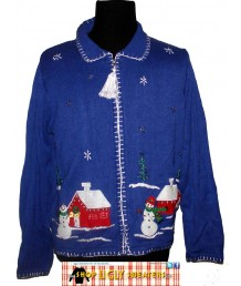 Blue Collared Zip up Snowmen at the Schoolhouse Sweater Size  SMALL