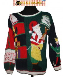 Multicolored ABC WORKSHOP Santa Sweater. Size LARGE