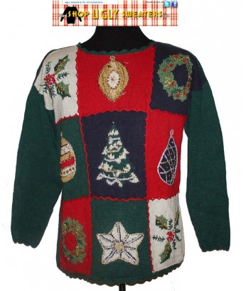 Green Christmas Sweater  with 9 beaded panels