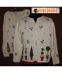 White Christmas Cardigan Sweater Size MED or XL