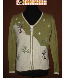 White & Green V Neck Zip Up Puffy Penguin Sweater Size MEDIUM