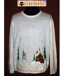 White Beaded Christmas Sweater Size 4XL