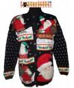 Black HoHoHo Santa Christmas Cardigan Sweater Size LARGE