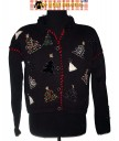 Black Beaded Christmas Tree Cardigan with velvety collar Christmas Sweater Size Large