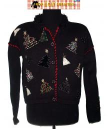 Black Beaded Christmas Tree Cardigan with velvety collar Christmas Sweater Size Large