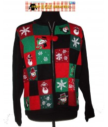 Black Green & Red Patchwork snowflake and snowmen Christmas Zip Up Sweater Size M