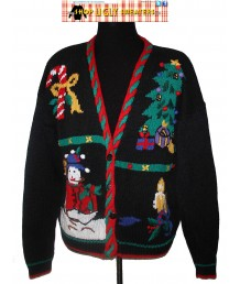Black  V Neck Cardigan Sweater with puff balls