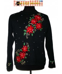 Black Sparkly Pointsettia Sweater Size LARGE