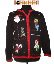 Black Christmas Cardigan with red trim Size LARGE
