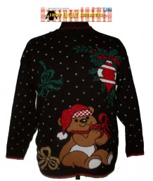 Black Christmas Teddybear Sweater with red trim