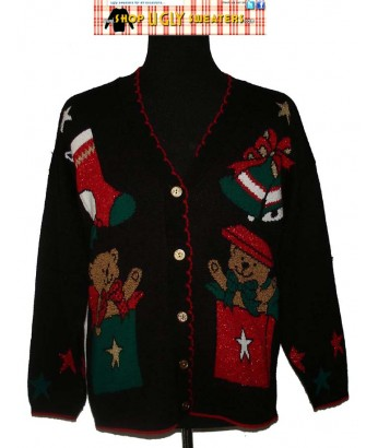 Black Christmas Teddybear V Neck Cardigan Sweater with red trim Size Medium/LARGE