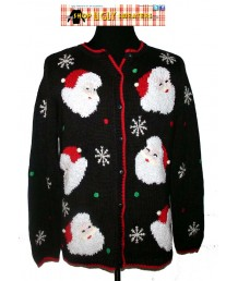 Black with red trim Santa Snowflake Christmas Sweater Size LARGE