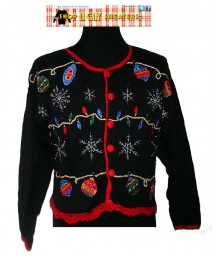 Black with red trim Sparkly Ornaments Christmas Cardigan Sweater Size SMALL