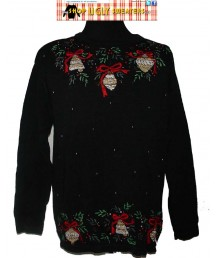 Sparkly Gold Ornaments Christmas Sweater Size LARGE