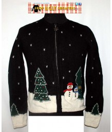 Black Winter Snowmen and Trees  Zip Up Sweater Size Petite SMALL