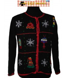 Sparkly Snowflakes & Mittens Black  Christmas Cardigan Sweater