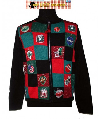 Patchwork Presents Christmas Zip Uo Sweater