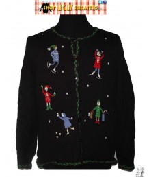 Faceless Iceskaters Cardigan Sweater Size LARGE
